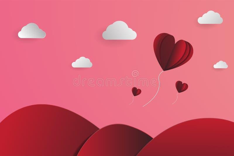 Hart-vorm ballons papercut in de hemel, Landschaps papercut vector, voor de dag van valentijnskaarten en om het even welke gebeur vector illustratie