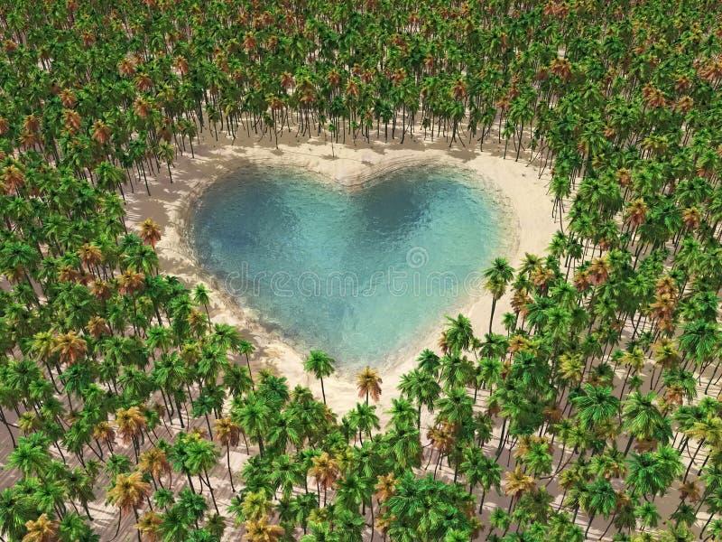 Hart-vormig meer in het midden van tropische paradi stock illustratie