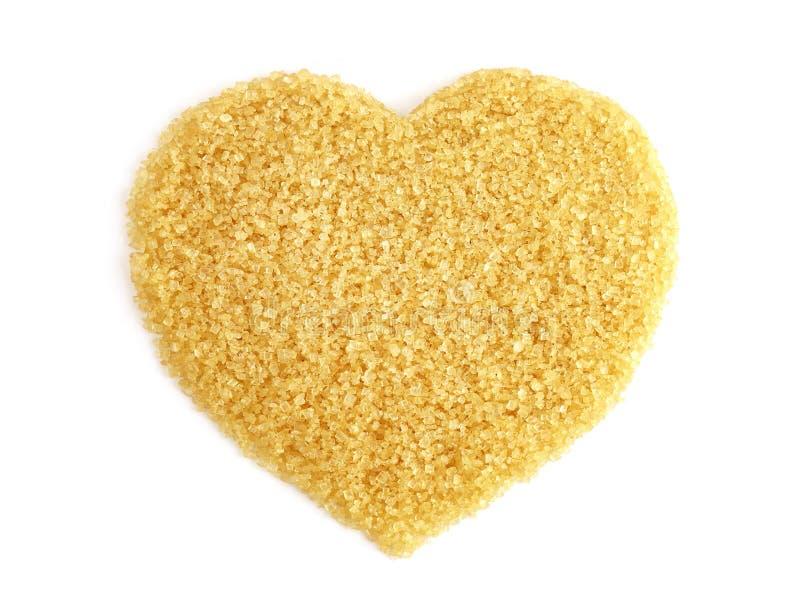 Hart-vormig van Suiker van suikerriet hoogste mening, korrelde de Achtergrond suiker gele bruin, Sucrosesuiker, Rode suiker stock afbeeldingen