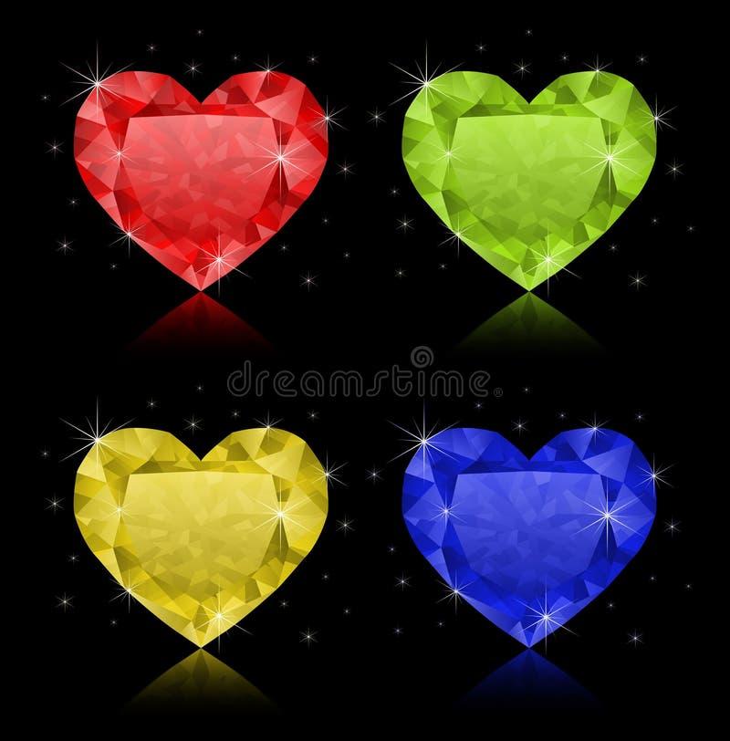 Hart-vormige diamanten royalty-vrije illustratie