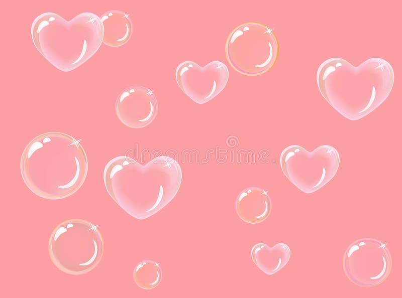 Hart-vormige zeepbels stock illustratie