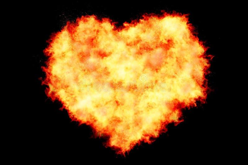 Hart wordt gevuld door vlammen op zwarte achtergrond wordt gemaakt te branden met branddeeltjes, valentijnskaartdag en liefde die stock foto
