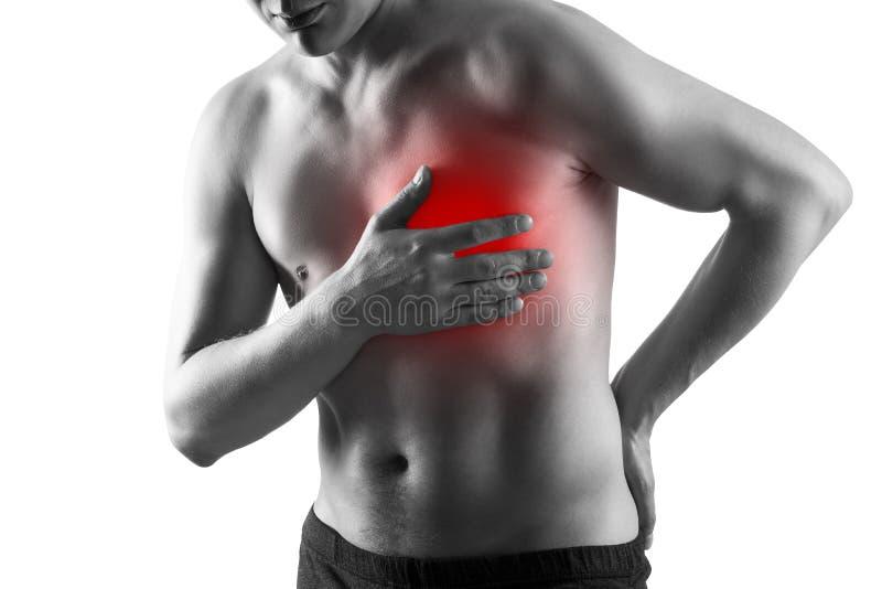 Hartaanval, mens met borstpijn op witte achtergrond, hart- en vaatziekteconcept wordt geïsoleerd dat stock foto's