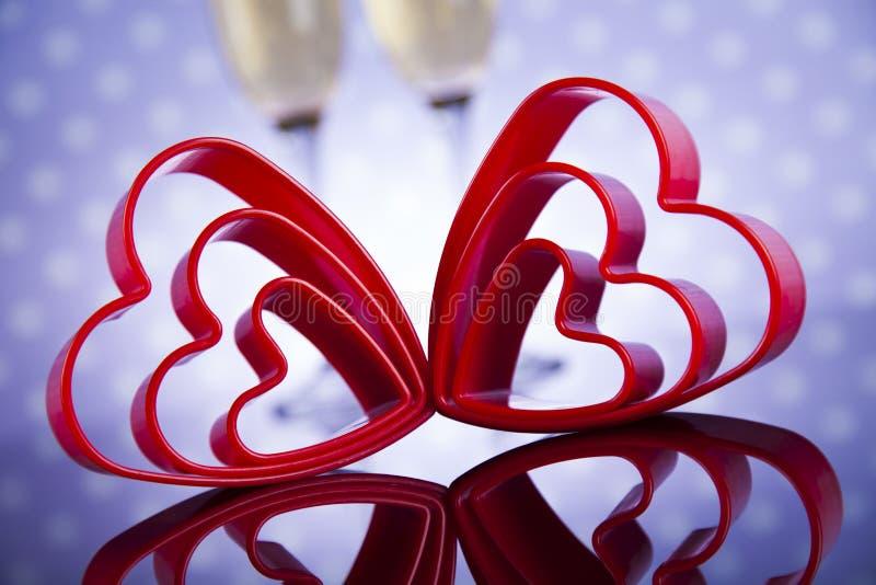 Hartachtergrond en rozen, de achtergrond van de Valentijnskaartendag stock foto