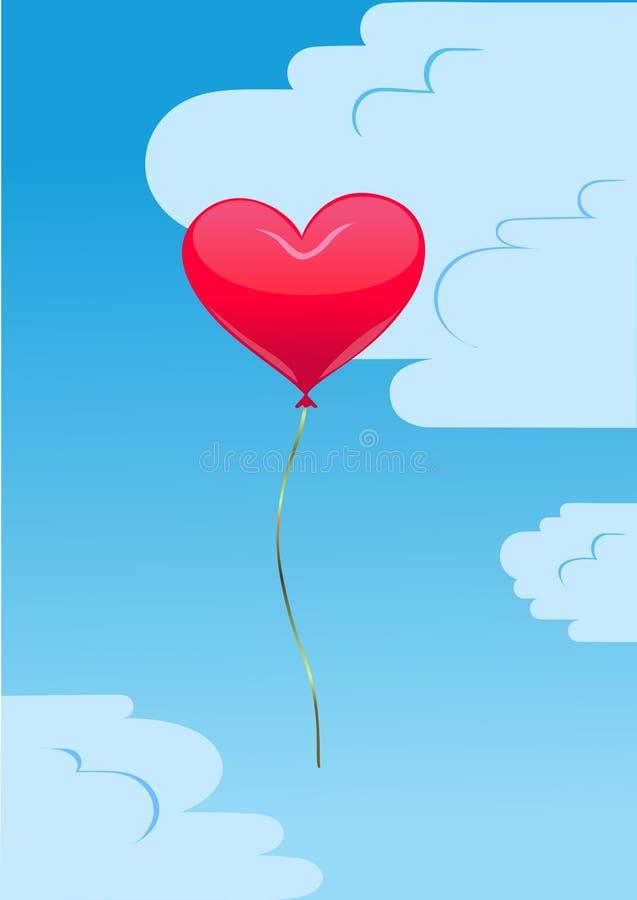 Hartballon in de hemel stock illustratie