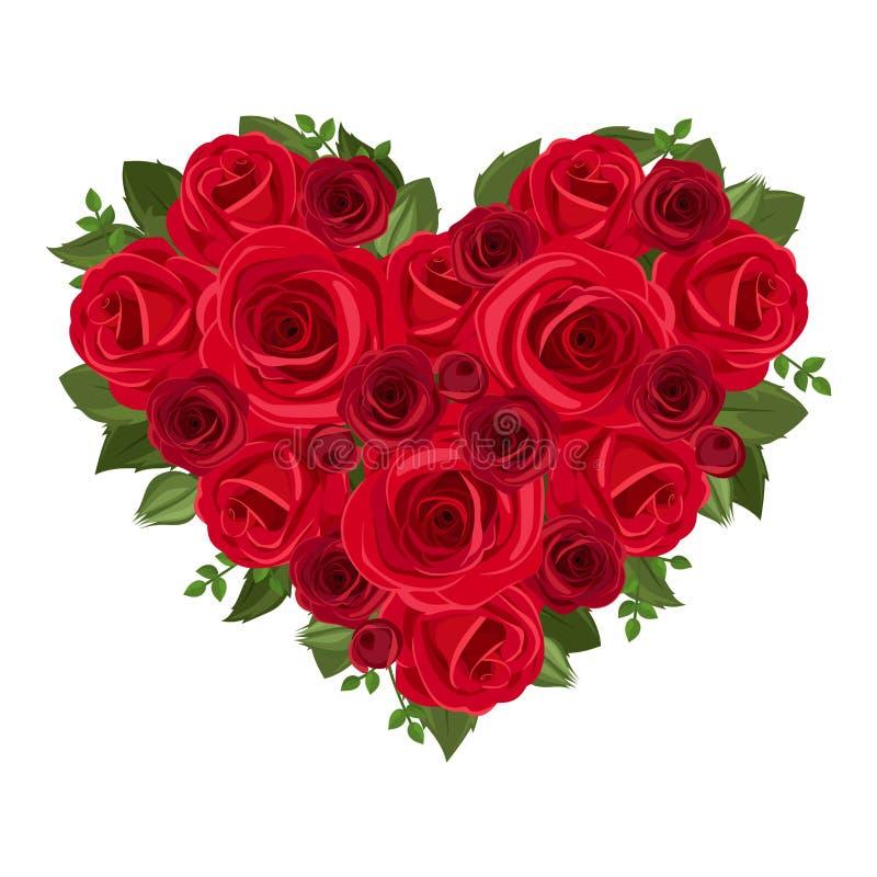 Hartboeket van rode rozen. royalty-vrije illustratie