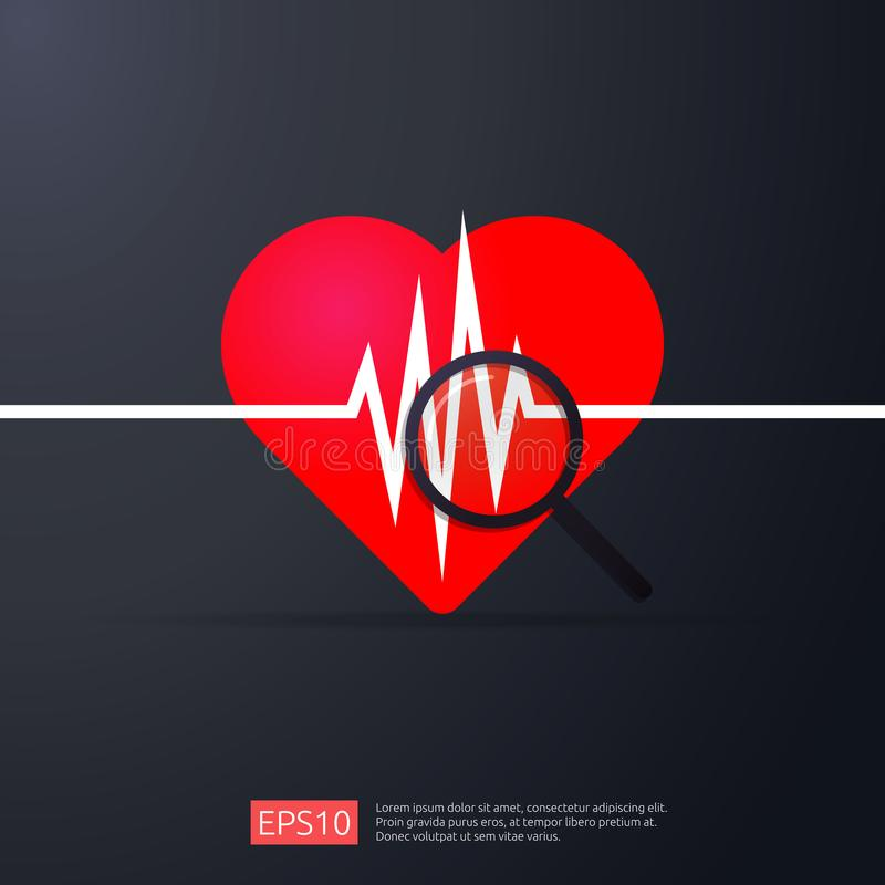 Hartcardiologie de hartslag of sloeg het pictogram van het impulsonderzoek het symbool van de gevaarshartaanval de dagconcept van royalty-vrije illustratie
