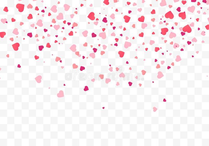 Hartconfettien die onderaan ge?soleerd vallen Het concept van de Dag van valentijnskaarten De bekledingsachtergrond van hartvorme royalty-vrije illustratie