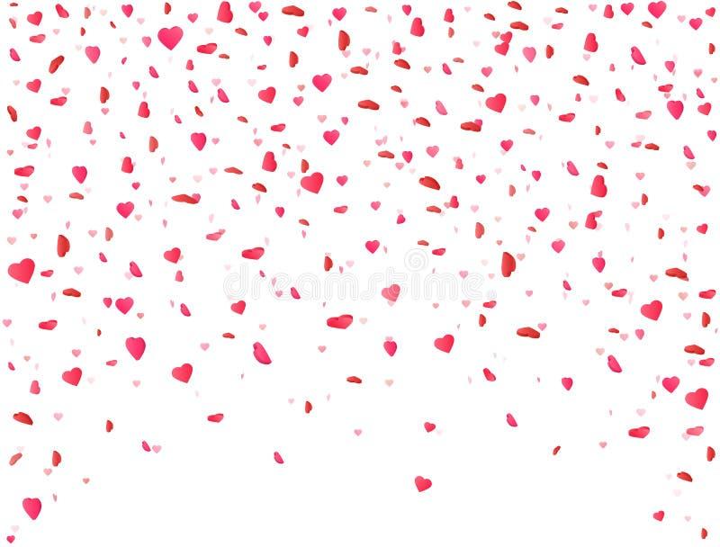 Hartconfettien die op witte achtergrond vallen Bloembloemblaadje in vorm van hart De achtergrond van de valentijnskaartendag Kleu vector illustratie