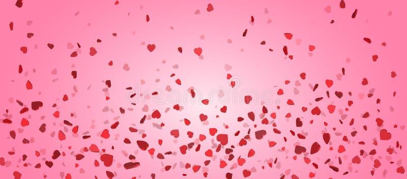 Hartconfettien van Valentijnskaartenbloemblaadjes die op roze achtergrond vallen Bloembloemblaadje in vorm van hartconfettien voo vector illustratie