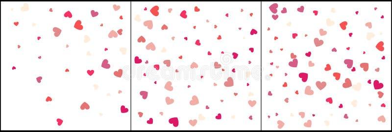 Hartconfettien van Valentijnskaartenbloemblaadjes die op witte achtergrond vallen Bloembloemblaadje in vorm van hartconfettien vo stock illustratie