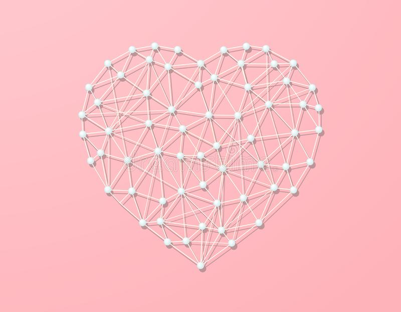 Hartdraai met draad met parelparels, symbool van liefde, verbindings abstracte illustratie, heldere gevoelige pastelkleuren, lich stock illustratie