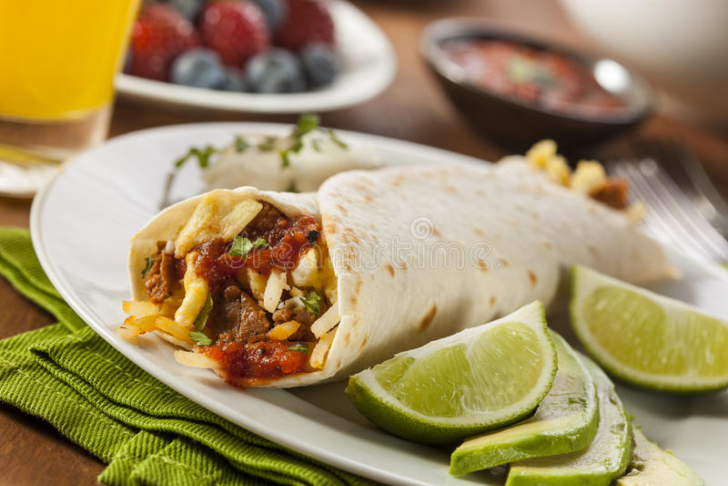 Hartelijk Chorizo Ontbijt Burrito royalty-vrije stock foto's