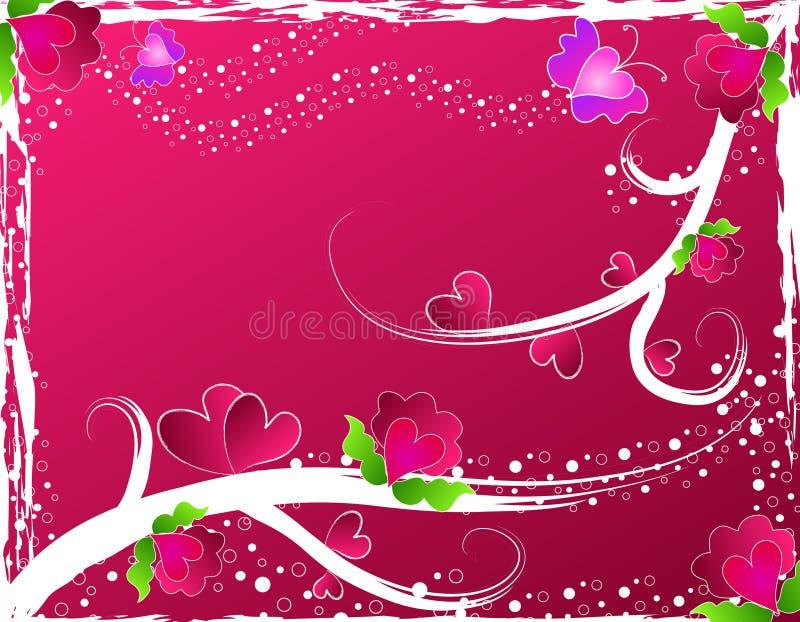 Harten, bloemen en vlinders vector illustratie