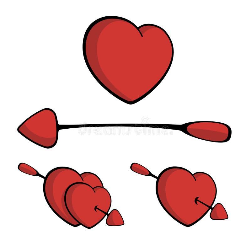 Harten die met pijl worden doordrongen, die in liefdevector vallen royalty-vrije illustratie