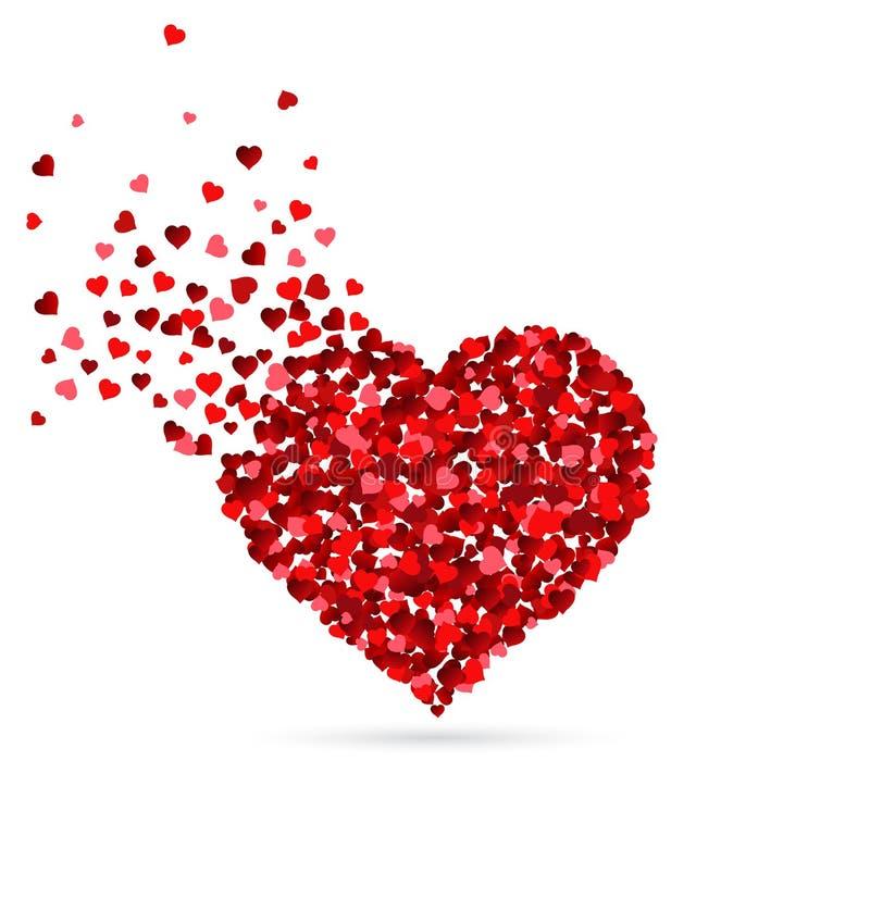 Harten die zich van een hartvorm verspreiden stock foto's