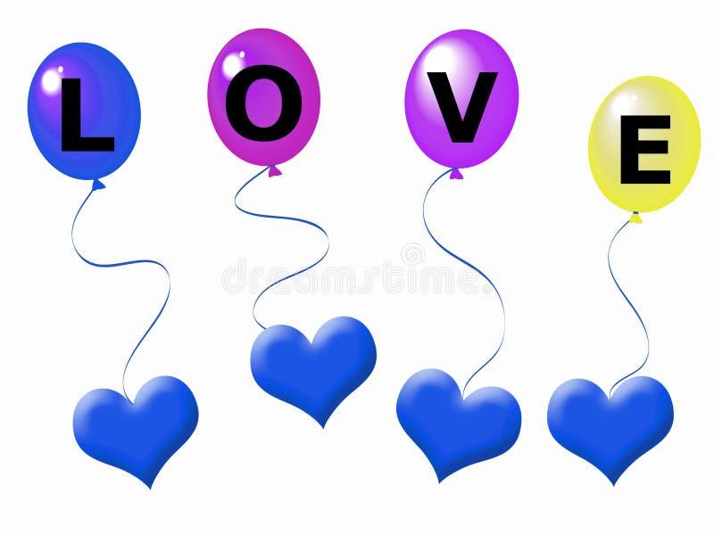 Harten en ballons stock illustratie
