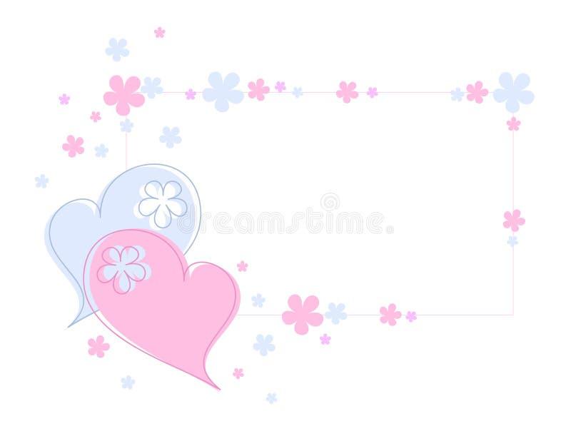 Harten en bloemen stock illustratie