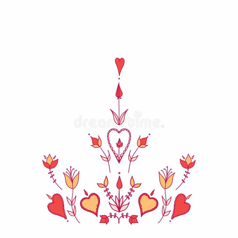 Harten en bloemen stylization van natuurlijke beweging veroorzakend royalty-vrije stock afbeelding