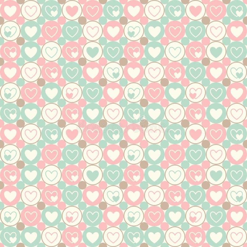 Harten en cirkels naadloos geometrisch patroon stock afbeelding