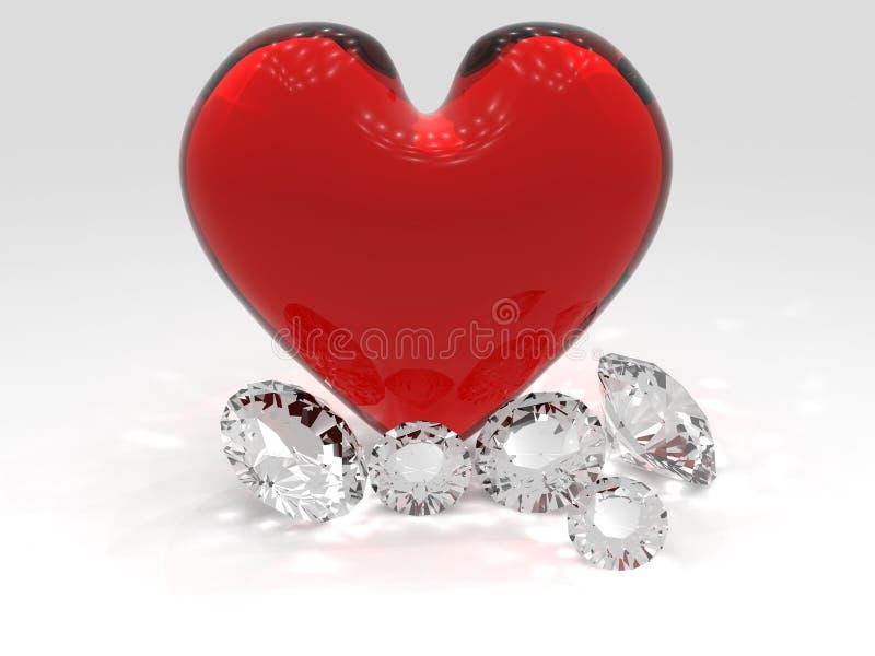 Harten en Diamanten stock illustratie