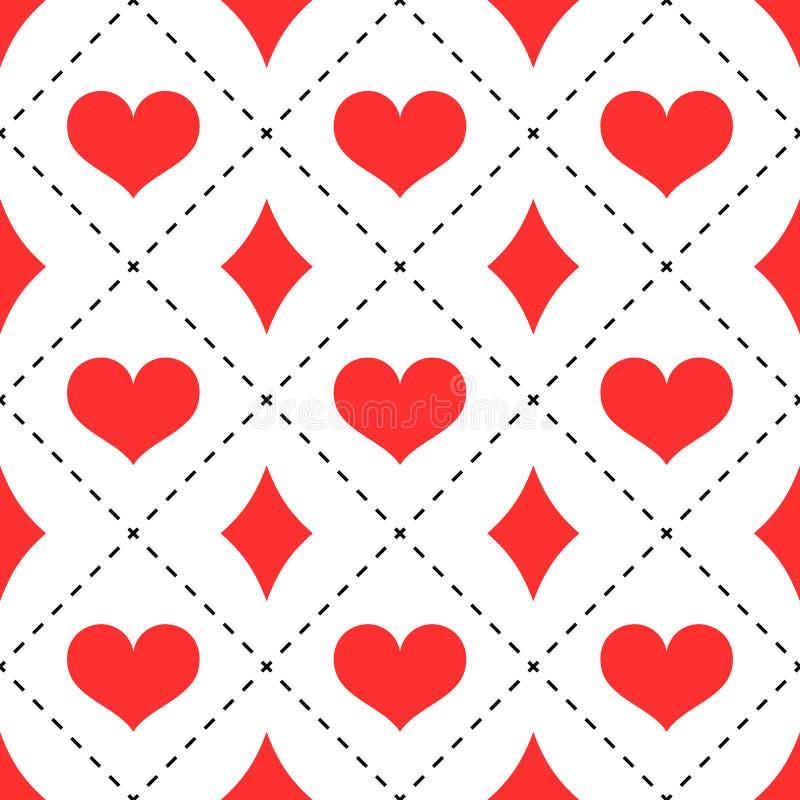 Harten en diamantenpatroon stock illustratie