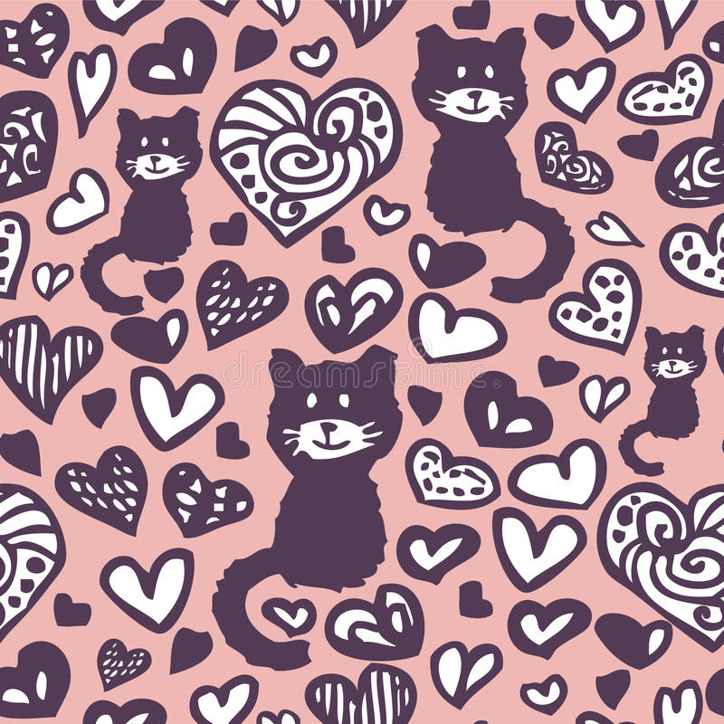 Harten en katten naadloos patroon vector illustratie