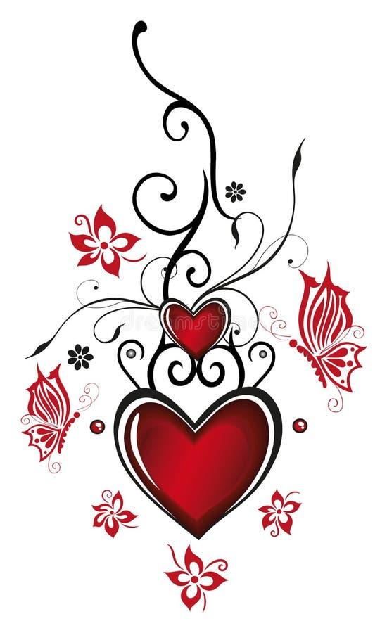 Harten met bloemen royalty-vrije illustratie