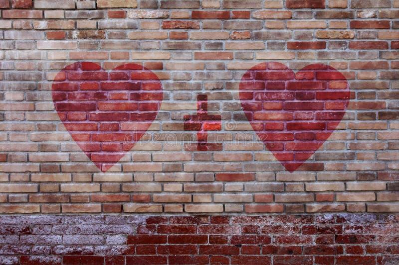 Harten met plusteken op oude bakstenen muur stock afbeeldingen