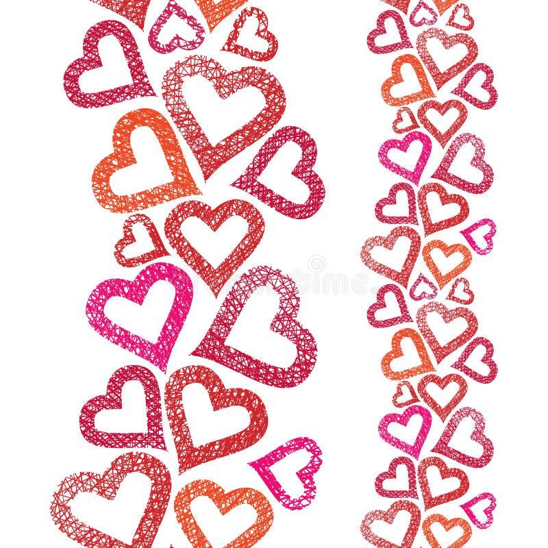 Harten naadloos patroon, verticale samenstelling, Liefde royalty-vrije illustratie