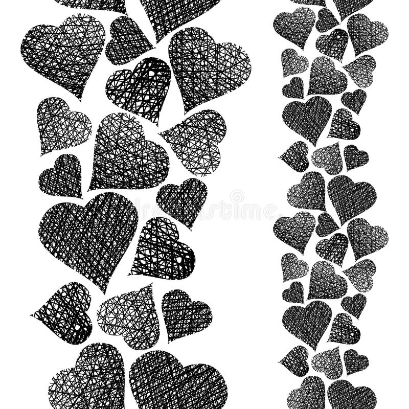 Harten naadloos patroon, verticale samenstelling, Liefdethema seamle royalty-vrije illustratie