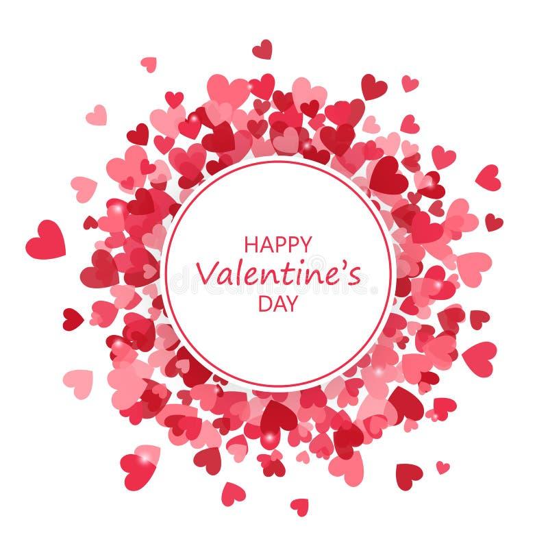 Harten om frame De dagbanner van Valentine ` s Een vectorillustratie Vector illustratie royalty-vrije illustratie