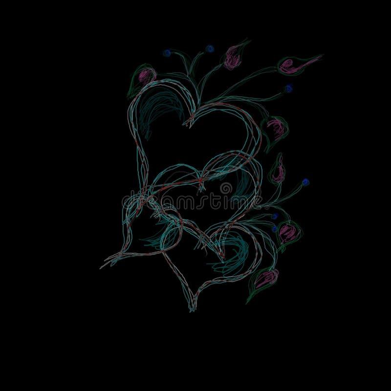 Download Harten Op Zwarte Achtergrond Stock Illustratie - Illustratie bestaande uit patroon, bloem: 10782448