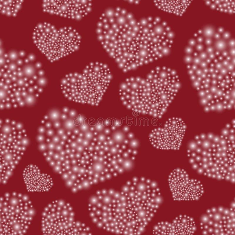 Harten van klein lichten rood naadloos patroon royalty-vrije illustratie
