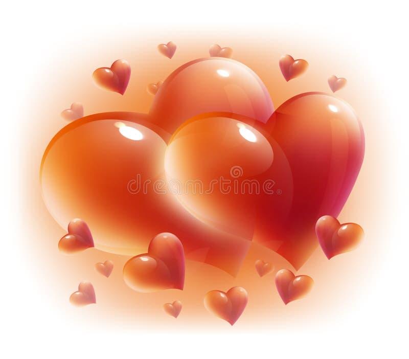 Harten voor geïsoleerdee de dag van de valentijnskaart royalty-vrije illustratie