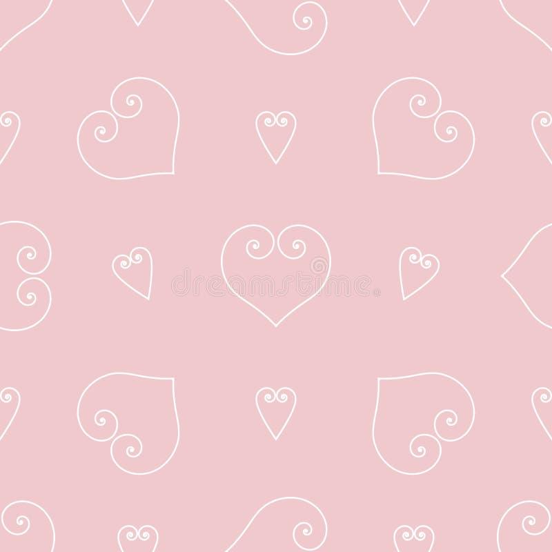 Hartenachtergrond van Valentijnskaartendag Naadloze textuur met krommenlijnen Vector royalty-vrije stock afbeelding