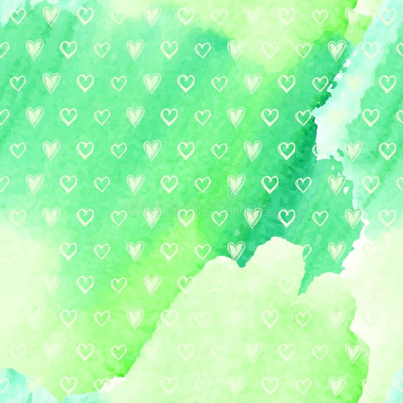 Hartenpatroon op een waterverfachtergrond vector illustratie