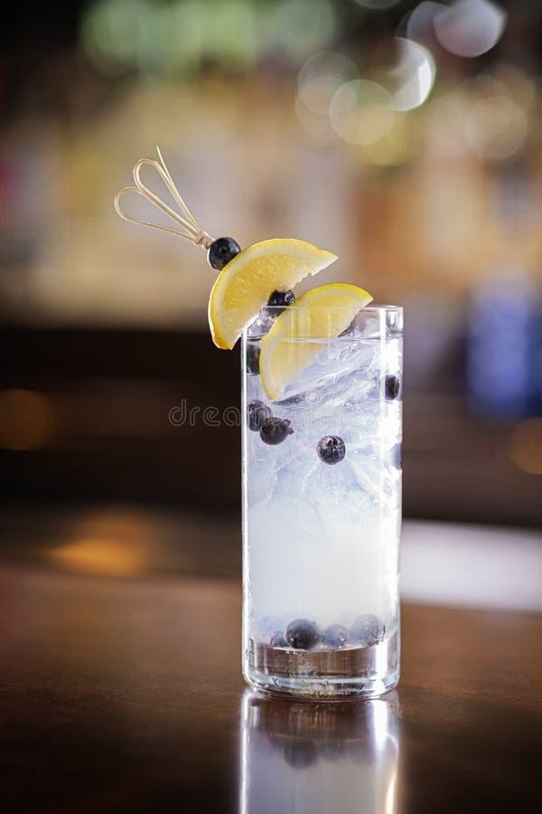 Harter Blaubeerwodka Cocktail sprudeln stockfoto
