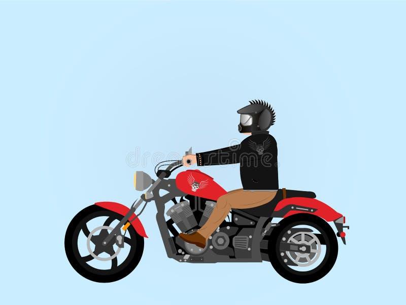 Harter Junge, der ein Motorrad reitet vektor abbildung