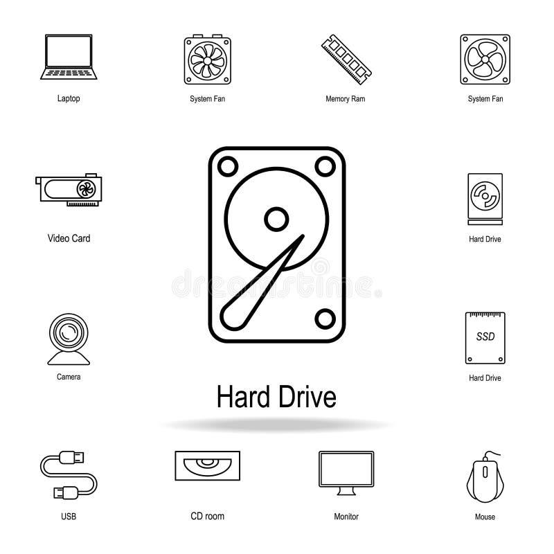 Hartes Laufwerkssymbol Ausführlicher Satz Computerteilikonen Erstklassiges Grafikdesign Eine der Sammlungsikonen für Website, Web lizenzfreie abbildung