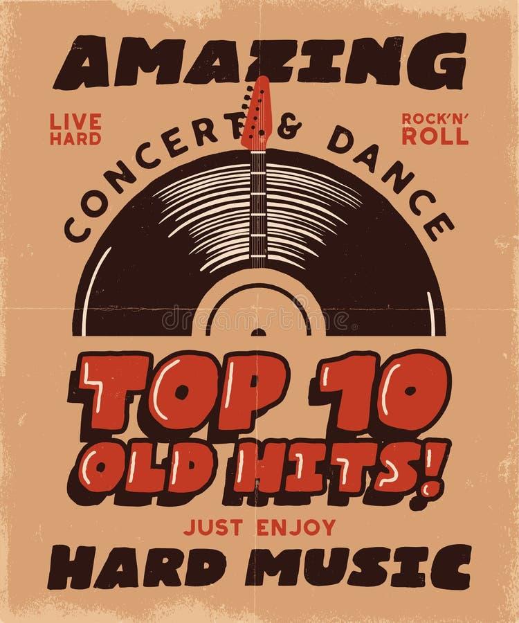 Hartes Musik-Plakat Konzert-und Festival-T-Stück Grafikdesign Retro- Musikplakat, Festivaleinladung Musikalisches T-Shirt stock abbildung
