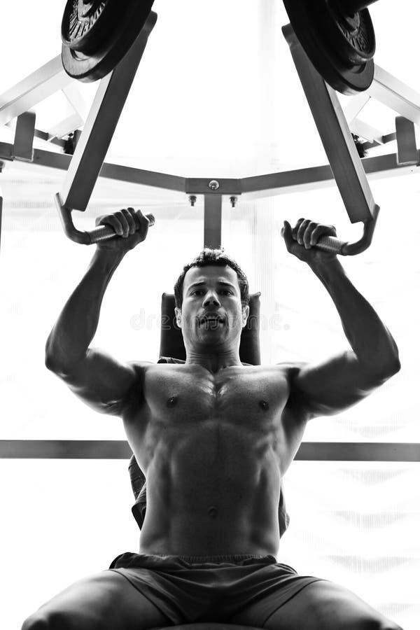 Hartes Training des Bodybuilders in der Gymnastik stockfoto