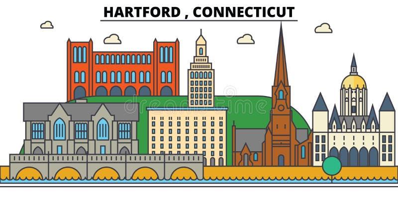 Hartford, Connecticut Architettura dell'orizzonte della città royalty illustrazione gratis