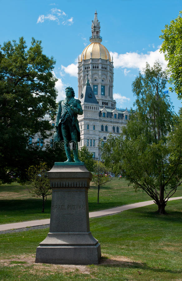Hartford Connecticut Capitol and Putnam Statue. Hartford Connecticut Capitol and Israel Putnam Statue in Busnell park royalty free stock photo