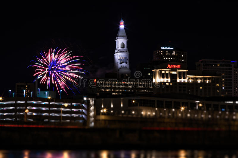 Hartford connecticut new year fireworks. Downtown with lights royalty free stock image
