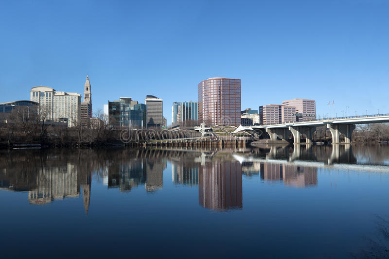 Hartford Connecticut Skyline. Hartford skyline reflected in the Connecticut river royalty free stock photography