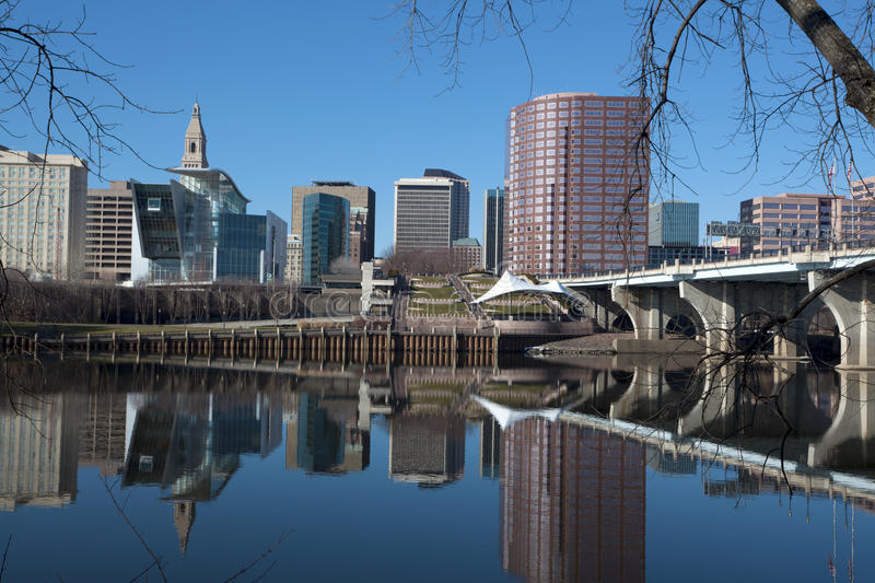 Hartford Connecticut skyline. Hartford skyline reflected in the Connecticut river stock images
