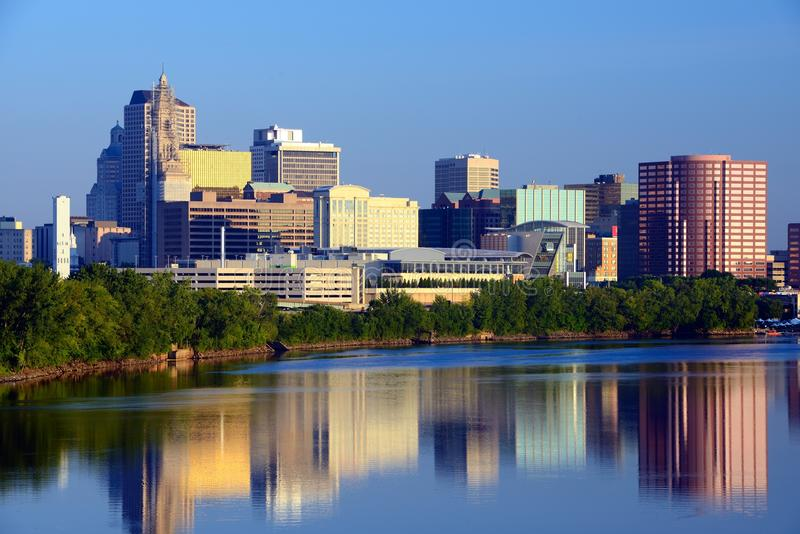 Hartford, Connecticut Skyline. Skyline of Hartford, Connecticut from above the Connecticut River royalty free stock photo