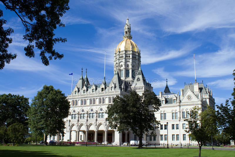 Hartford Connecticut State Capitol. Connecticut state capitol and surrounding lawn which is located in Hartford, CT, USA stock images