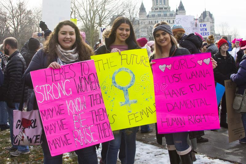 Hartford mulheres ` s março de 2018 fotos de stock royalty free